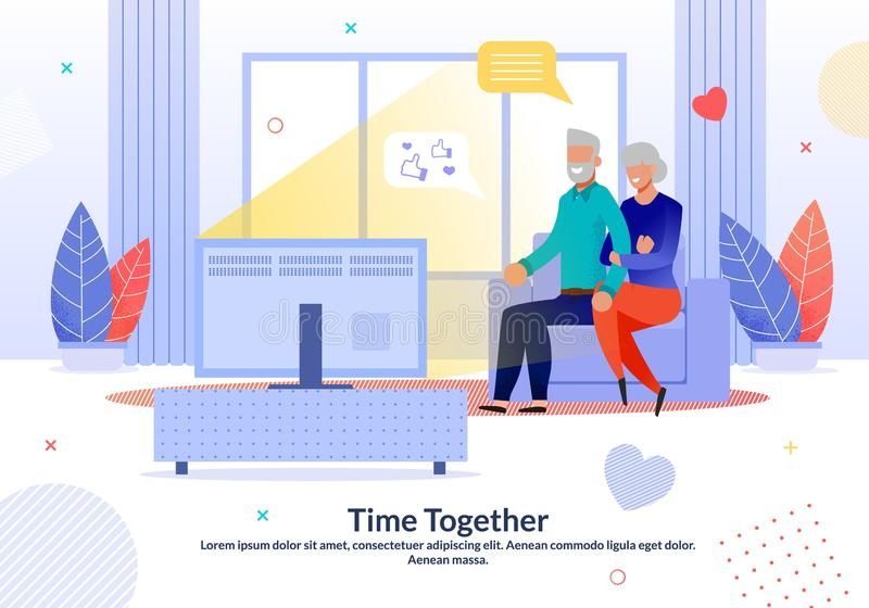 Happy Mature Couple Spend Time Together at Home. Happy Mature Married Couple Spending Time Together at Home. Aged Loving Man Woman Watching TV Show. Evening vector illustration