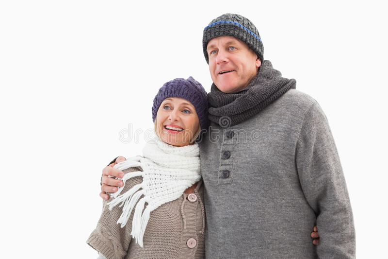 Happy mature couple in winter clothes royalty free stock image