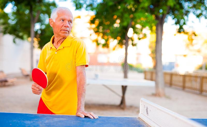 Mature man posing with rackets at table tennis. Happy mature man posing with rackets at table tennis royalty free stock image