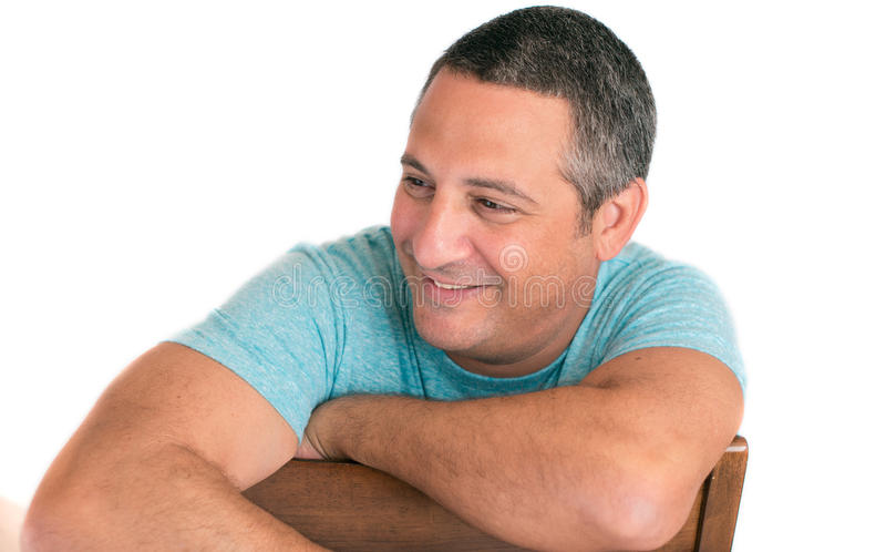 Happy mature man smiling stock photo