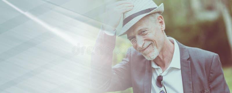 Happy mature man wearing a hat, light effect stock illustration