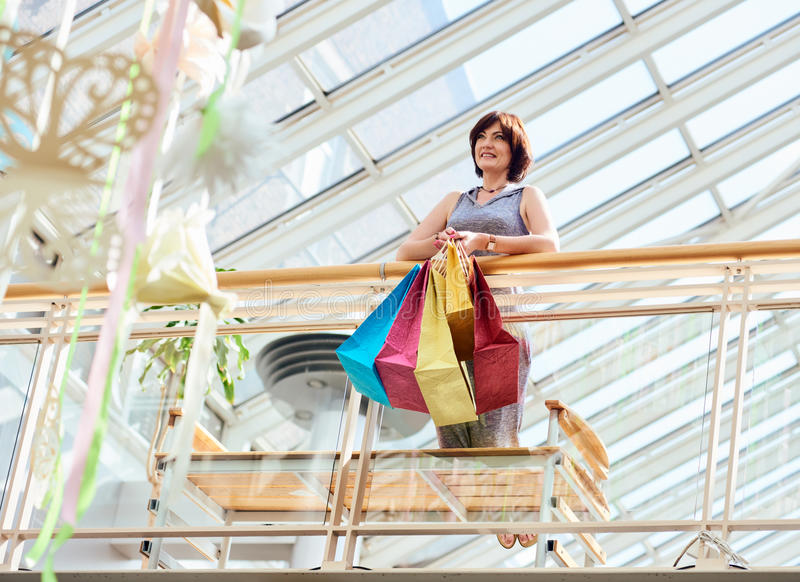 Happy mature shopping Woman royalty free stock image