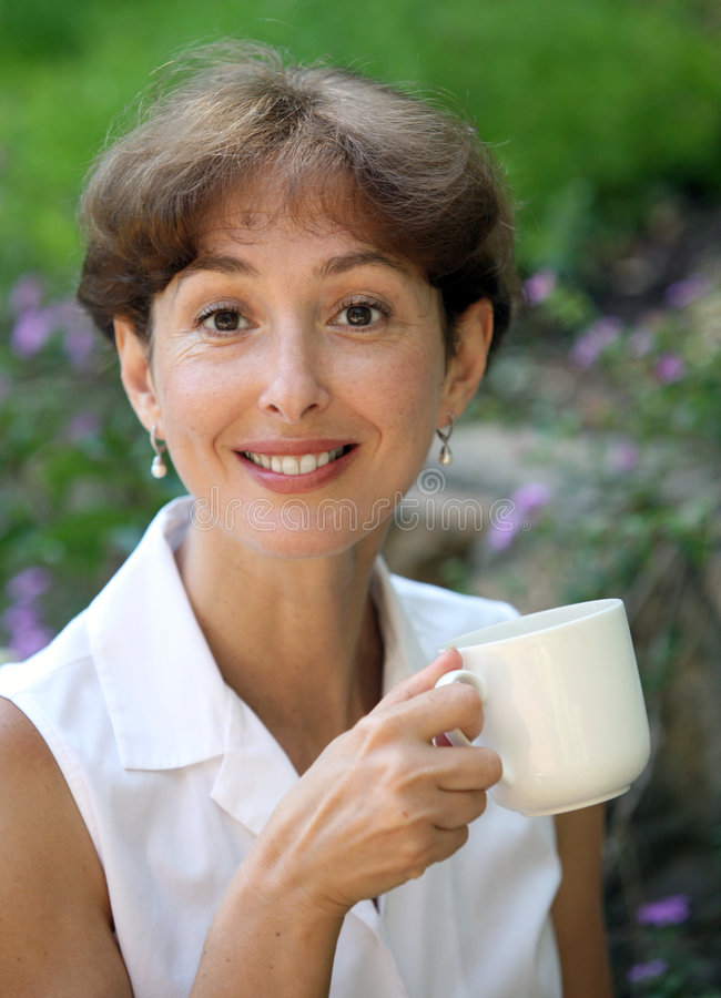 Happy mature woman stock images