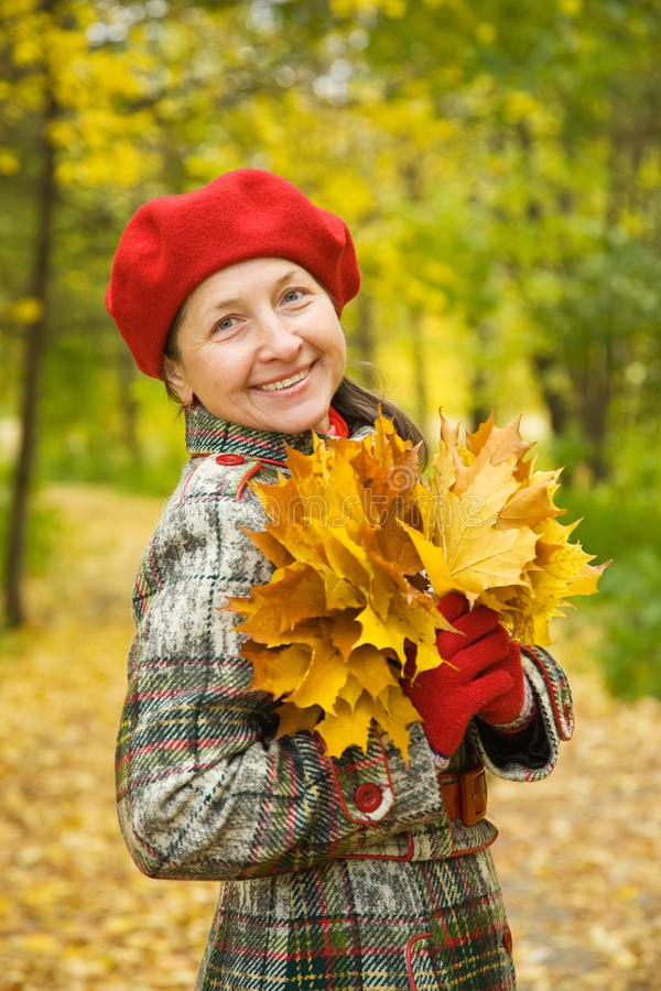 Download Happy Mature  Woman In Autumn Stock Image - Image: 21854849