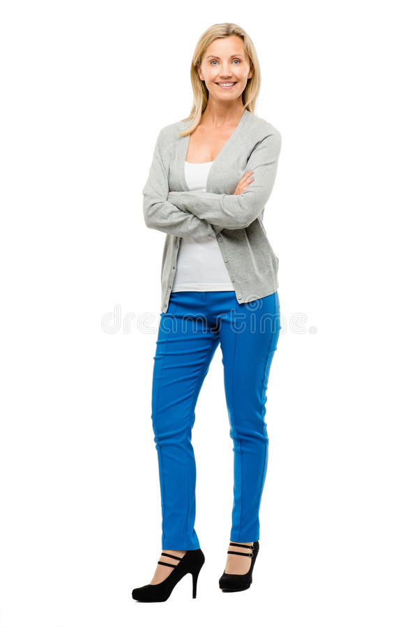 Happy mature woman confident arms folded isolated on white background. Happy confident mature woman arms folded smiling stock image
