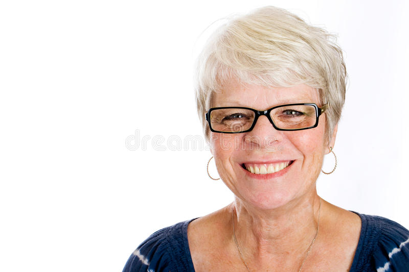 Happy, mature woman with glasses stock photos