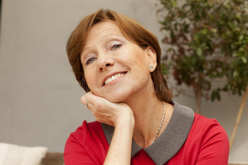 Happy mature woman portrait royalty free stock images