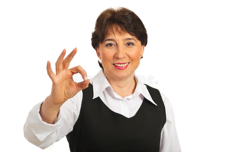 Happy Mature Woman Show Okay Sign Royalty Free Stock Image