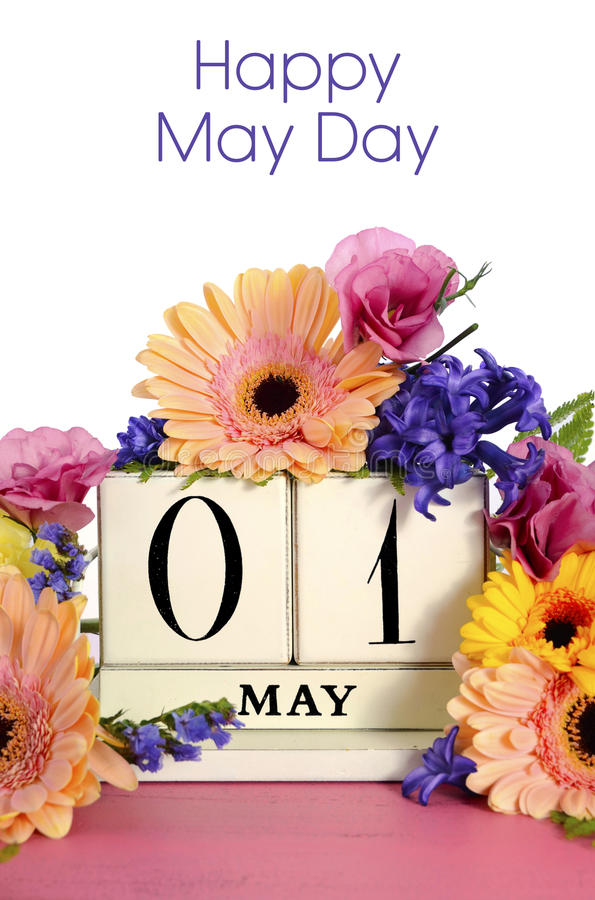 Xs Calendar May : Happy may day calendar with flowers stock photo image