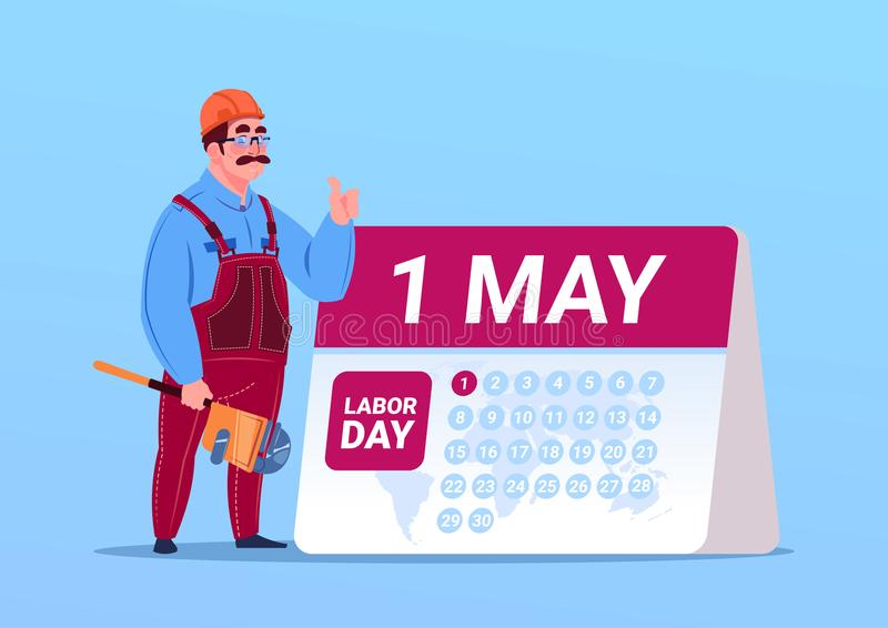 Happy 1 May Labor Day Poster With Builder Or Engineer Over Calendar royalty free illustration