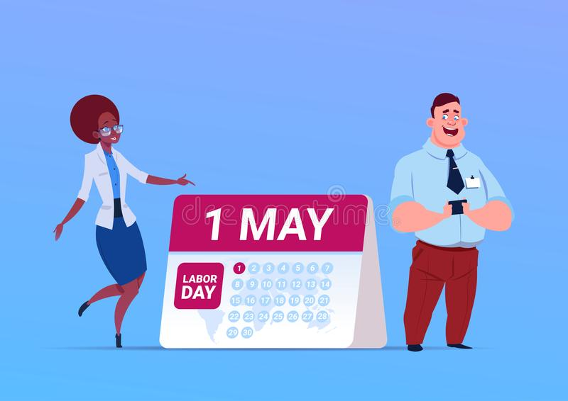 Happy 1 May Labor Day Poster With Business Man And Woman Over Calendar stock illustration