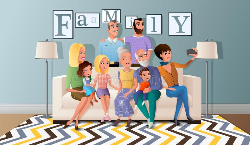 Selfie Photo with Big Family Cartoon Vector. Happy Members of Big Family Gathered Together at Home, Making Selfie, Shooting Group Portrait on Cellphone while royalty free illustration