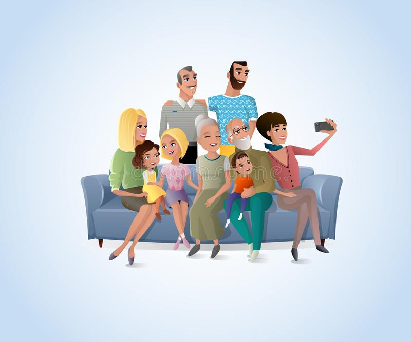 Big Happy Family Selfie Photo Cartoon Vector. Happy Members of Big Family Gathered Together at Home Making Selfie, Shooting Group Portrait on Cellphone while royalty free illustration