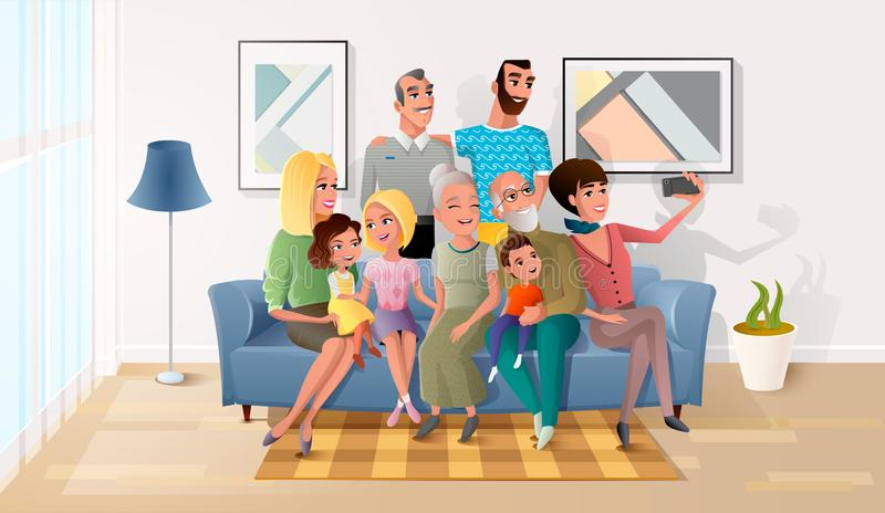 Selfie Photo of Big Happy Family Cartoon Vector. Happy Members of Big Family Gathered Together, Making Selfie Photo, Shooting Group Portrait of Three Generations royalty free illustration