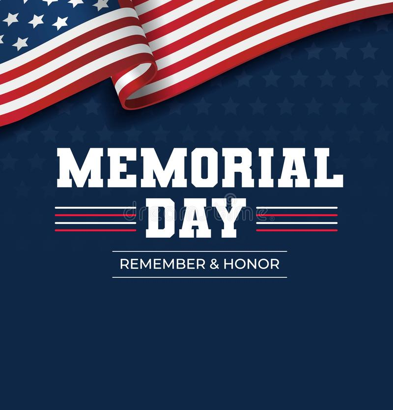 Happy Memorial Day background. National american holiday illustration. Vector Memorial day greeting card.