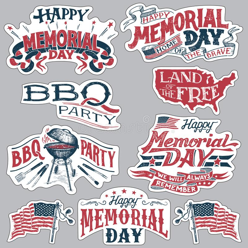 Happy Memorial Day Barbecue party labels set stock illustration