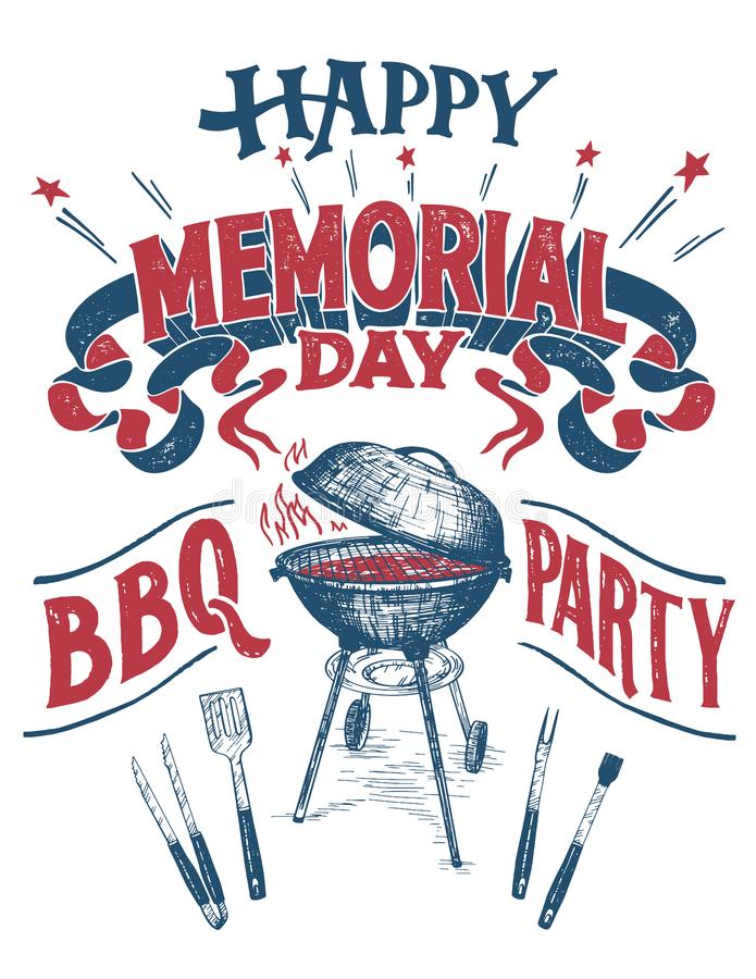 Happy Memorial Day Barbecue party sign stock illustration