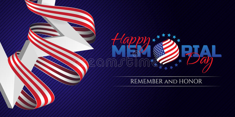 Happy Memorial Day greeting card with national flag colors ribbon and white star on dark background. Remember and honor. vector illustration