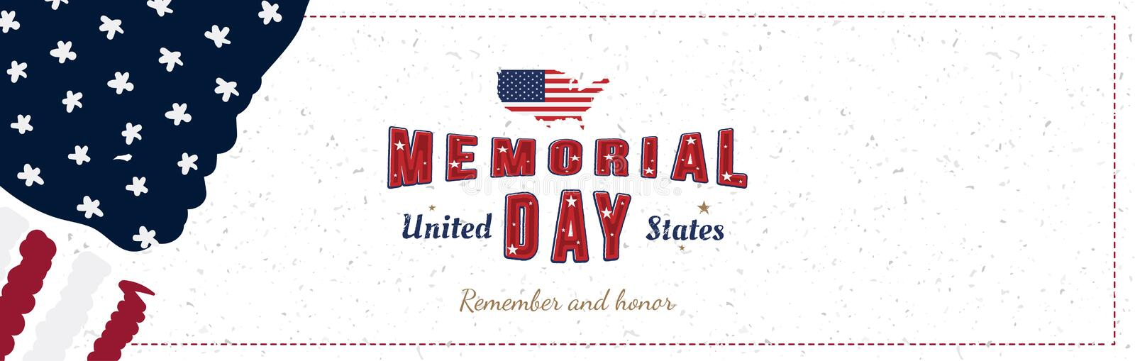 Happy Memorial Day. Greeting card with original font and USA map and flag. Template for American holidays. Flat illustration EPS10.  royalty free illustration