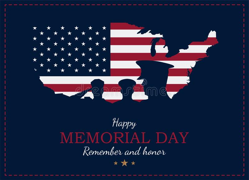 Happy Memorial Day. Greeting card with USA flag and map with silhouette soldiers on the background. National American holiday. Event. Flat vector illustration royalty free illustration