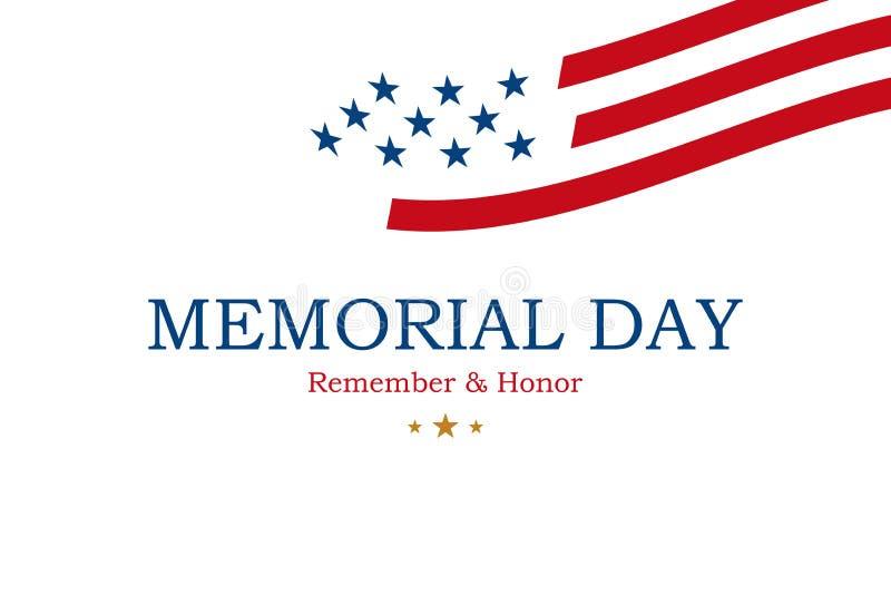 Happy Memorial Day Minimalistiskt hälsningskort med USA-flagga på vit bakgrund Nationellt amerikanskt semesterarrangemang Platt v stock illustrationer