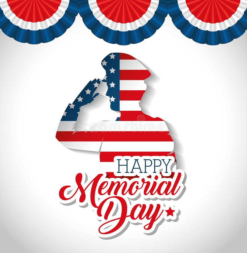 Happy memorial day soldier silhouette vector illustration