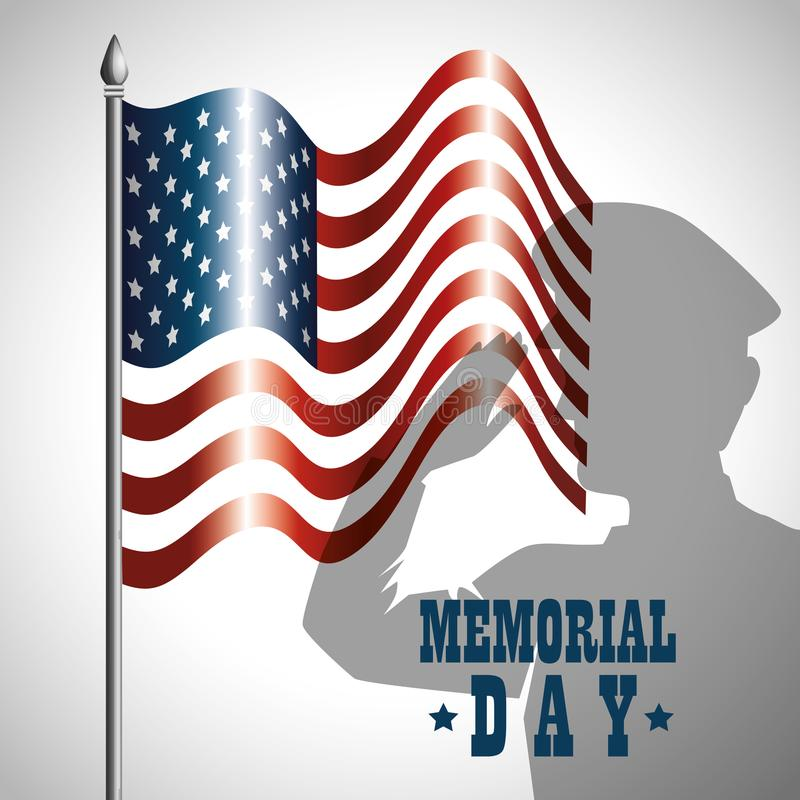 Happy memorial day soldier silhouette stock illustration