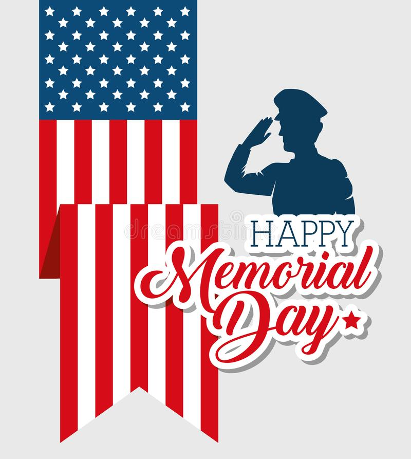 Happy memorial day soldier silhouette royalty free illustration