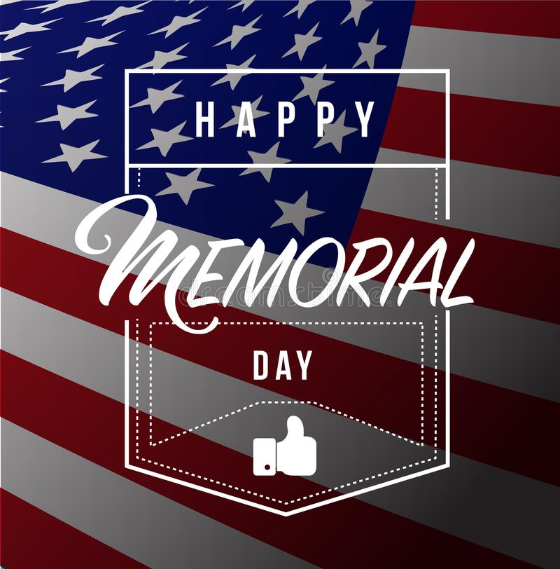 happy memorial day us flag line quote message concept stock illustration