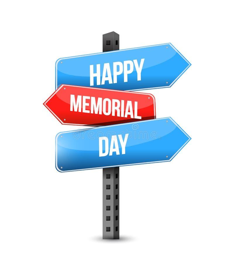 happy memorial day us multiple destination color street sign vector illustration