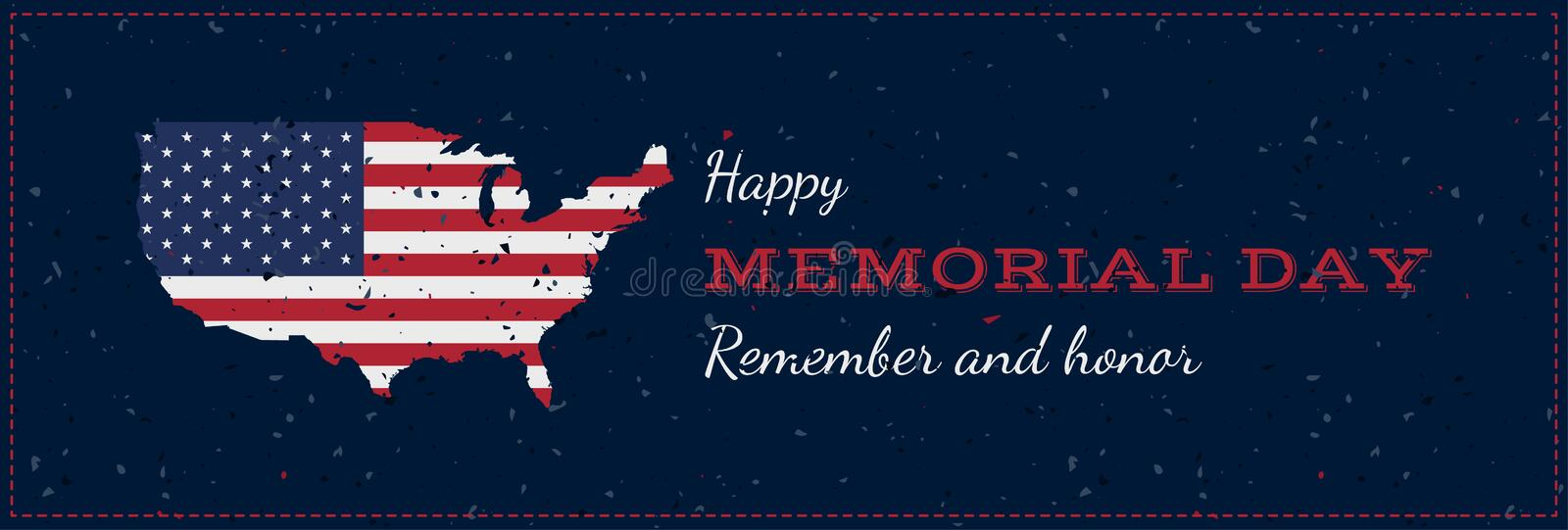 Happy memorial day with USA map. Vintage retro greeting card with flag and old-style texture. National American holiday event. Fla. T Vector illustration EPS10 royalty free illustration
