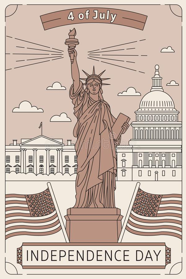 Happy memorial day. Vector illustrated greeting card with star White House, Congress building and USA flag. National stock images