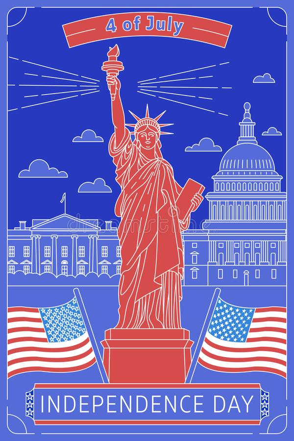 Happy memorial day. Vector illustrated greeting card with star White House, Statue of Liberty and USA flag. National stock images