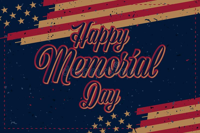 Happy Memorial Day. Vintage greeting card with USA flag on background with texture. National American holiday event. Flat vector stock photos