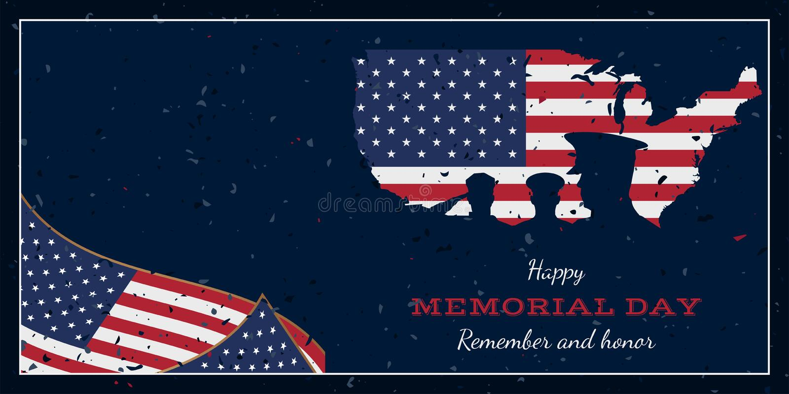 Happy memorial day. Vintage retro greeting card with flag and soldier with old-style texture. National American holiday event. Fla. T Vector illustration EPS10 stock illustration