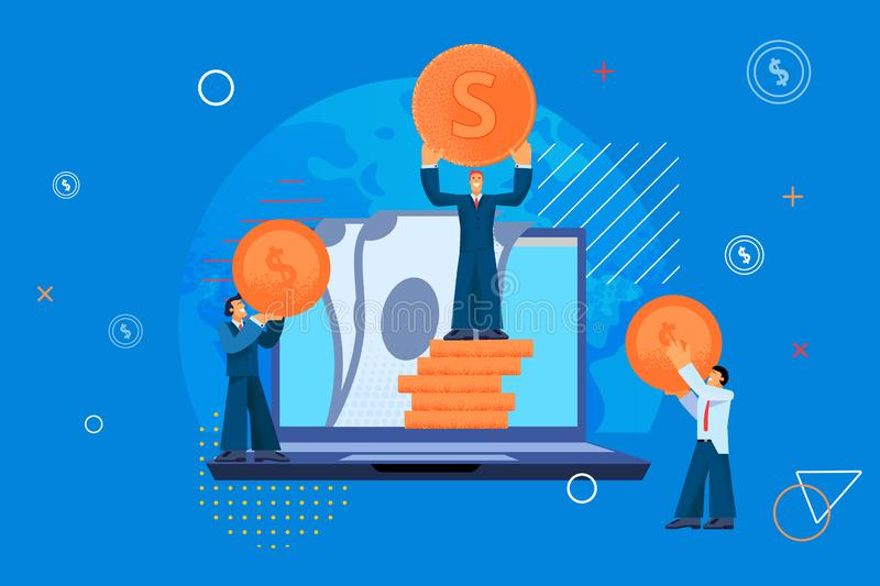 Happy Men in Business Suits Jointly Count Money. stock illustration
