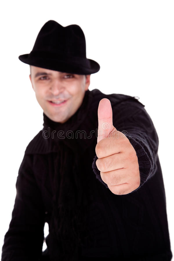 Happy men with hat and thumbs up royalty free stock photography