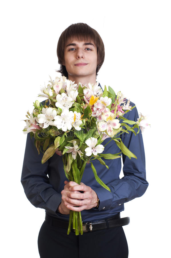 Happy Men Hold Bouquet Of Flowers Stock Photo - Image of relations ...