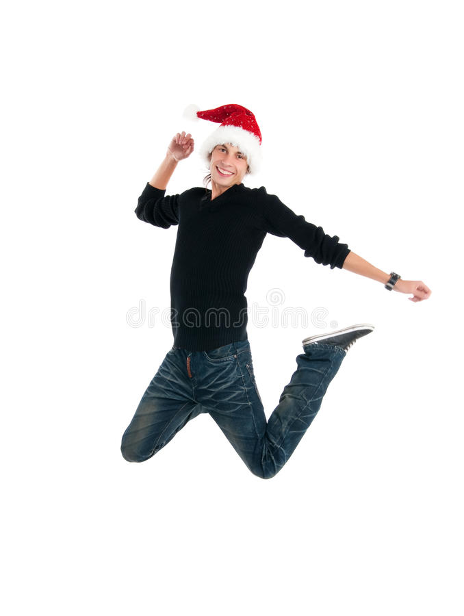 Download Happy men jump stock image. Image of christmas, claus - 16090011