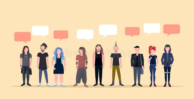 Happy men women standing together chat bubble communication smiling people with different hairstyles male female cartoon royalty free illustration