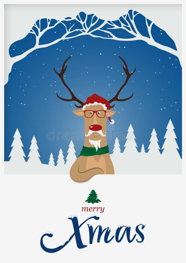 Happy Merry Christmas greeting card. Reindeer red nose standing in front of snow winter scene. X Mas typography with snow cover. Happy Merry Christmas greeting stock illustration