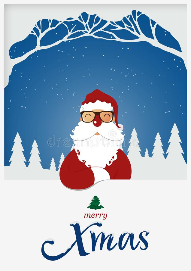 Happy Merry Christmas greeting card. Santa Claus red nose standing in front of snow winter scene. X Mas typography with snow cover. Happy Merry Christmas vector illustration