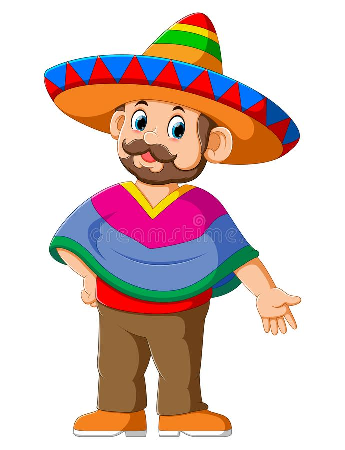 Happy Mexican Cartoon Character. Of illustration royalty free illustration