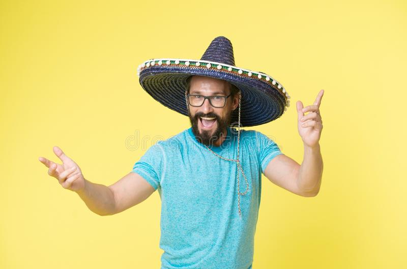 Happy mexican man smile in sombrero. Man smiling in mexican hat. Happy Cinco de Mayo. Enjoy the party royalty free stock images