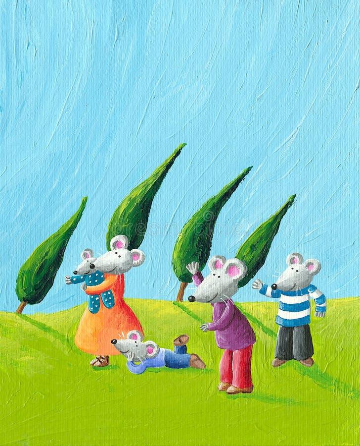 Happy Mice family. Acrylic illustration of the happy mice family vector illustration