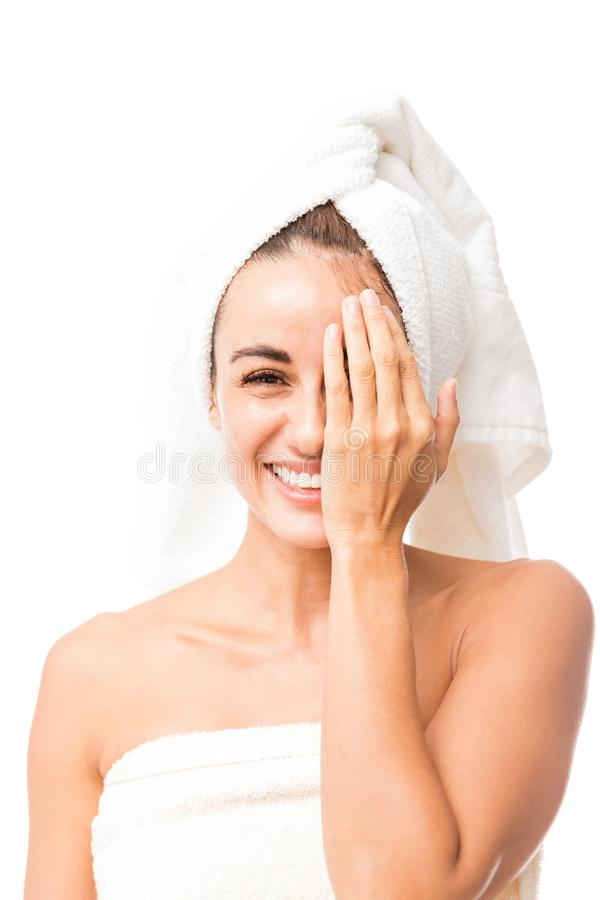 Happy Mid Adult Woman Hiding Her Beauty stock image