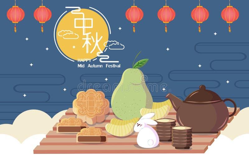 Happy Mid Autumn Festival royalty free illustration