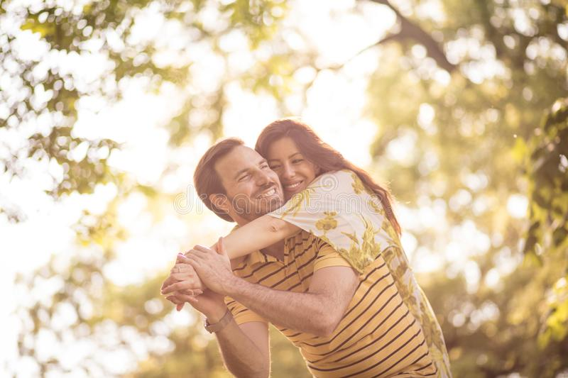 Happy middle age couple enjoy at nature. Beauty in nature stock photos