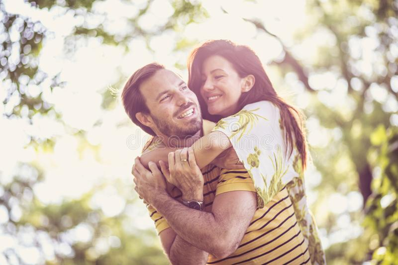 Happy middle age couple enjoy at nature. Portrait. Beauty in nature royalty free stock image