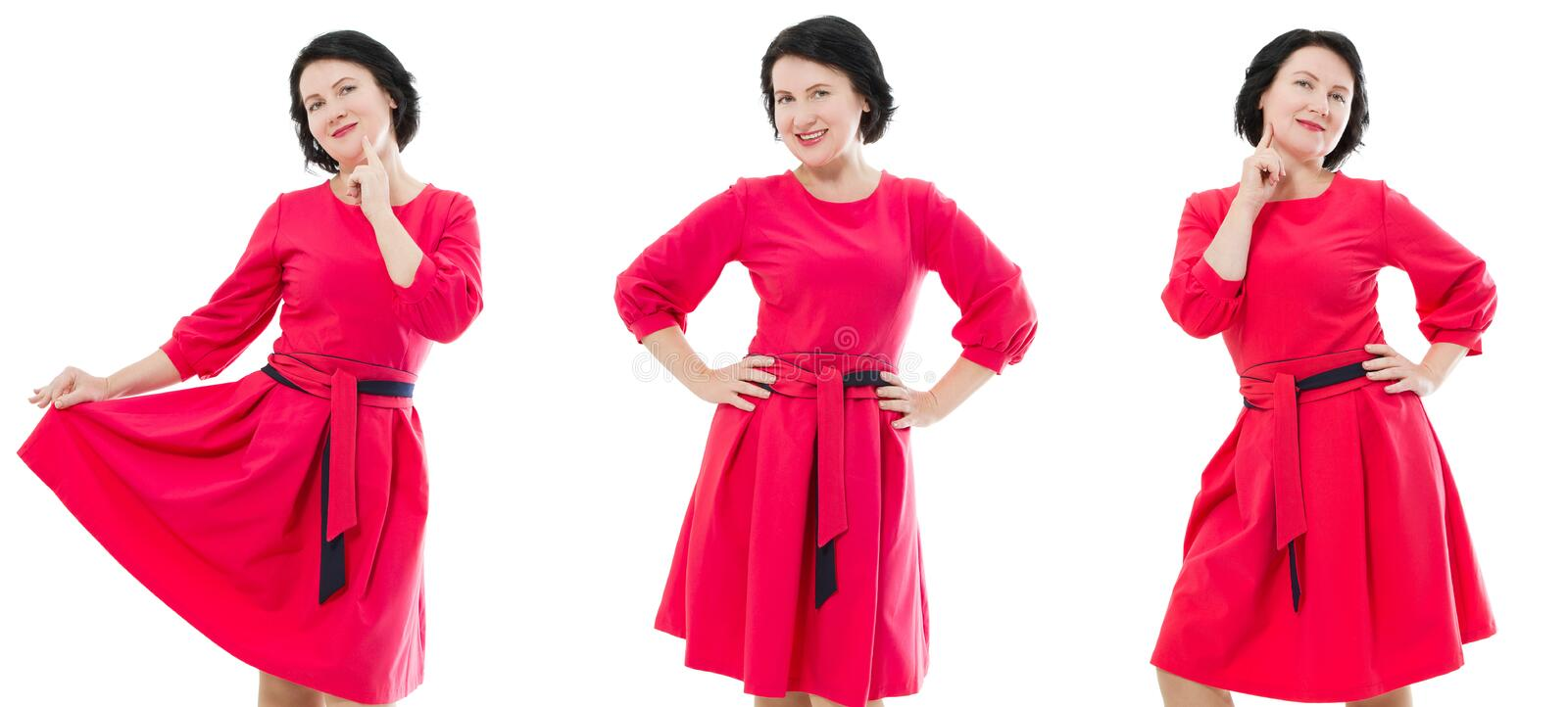 Happy middle age woman collage in fashion red dress with make up isolated on white background. Copy space.  royalty free stock photography